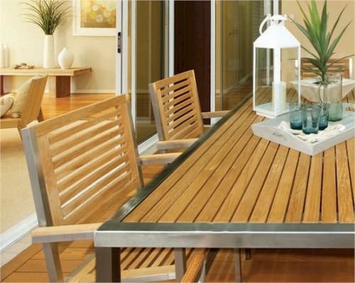 1714 Teak & Stainless Steel 180cm Dining Table ... - Leblon Buzios 1714 Teak & Stainless Steel 180cm Dining Table - Buy